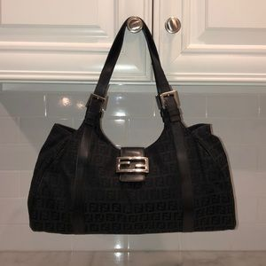 Fendi Zucca Borsa Canvas Hobo Tote Shoulder Bag